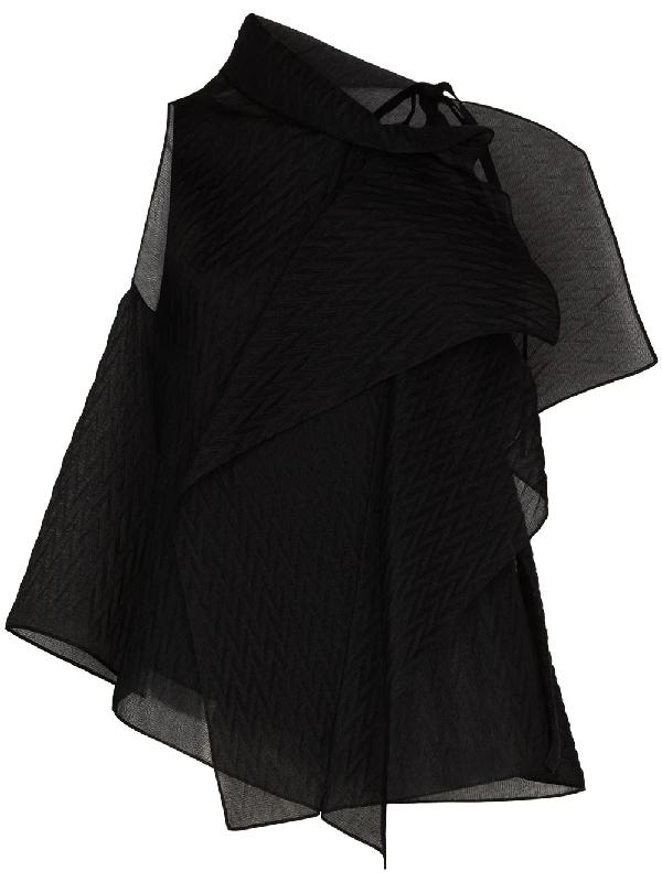 Roland Mouret Pasha Chevron-embossed Silk-blend Organza Blouse In Black