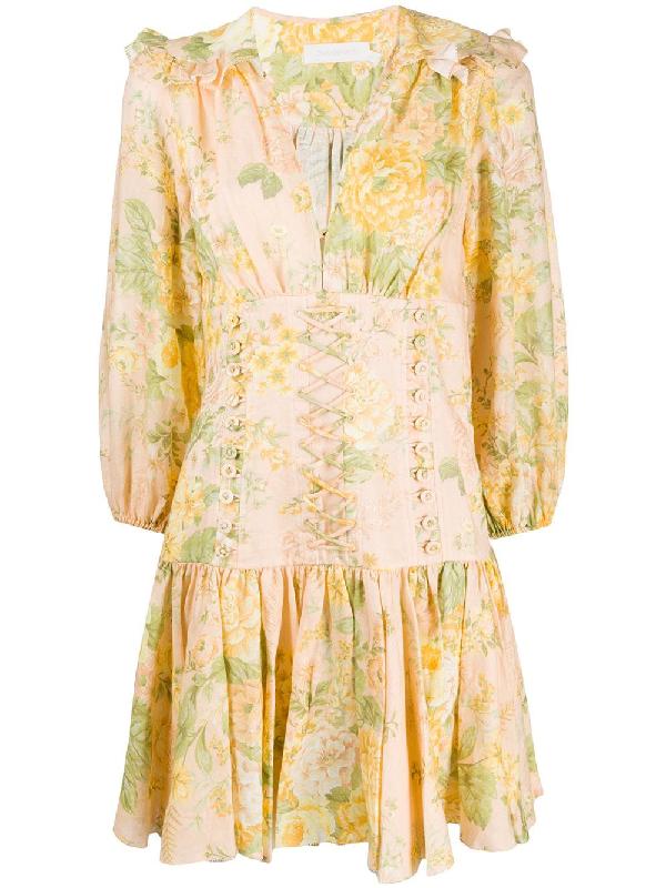 Zimmermann Amelie Floral-print Linen Mini Dress In Neutrals