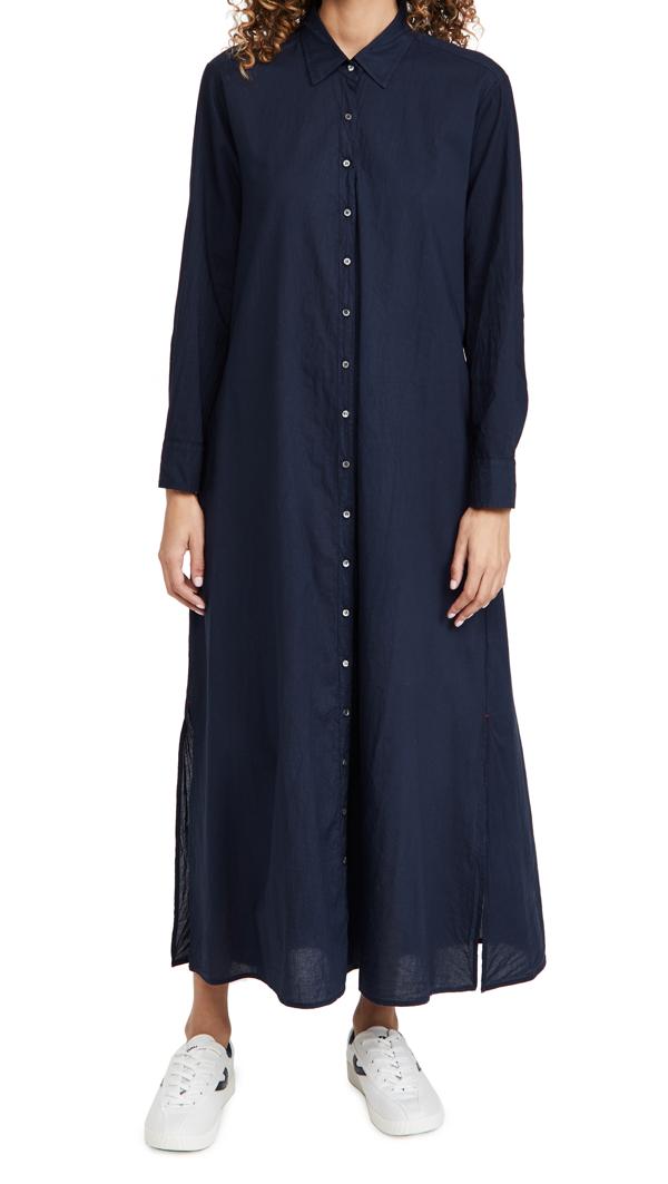 Xirena Boden Cotton Midi Shirt Dress In Navy