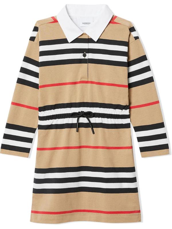 Burberry Kids' Long Sleeve Icon Stripe Dress In Neutrals
