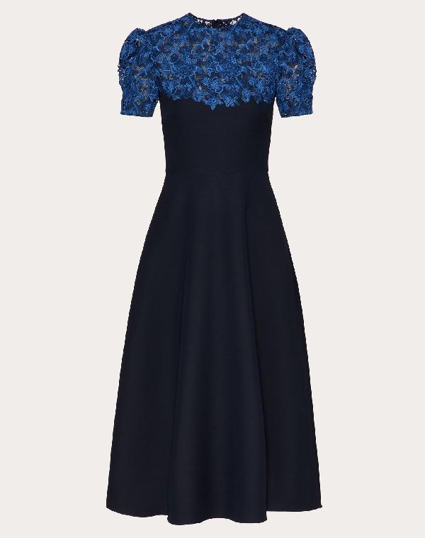 Valentino Lace Yoke Fit & Flare Midi Dress In Navy/blue