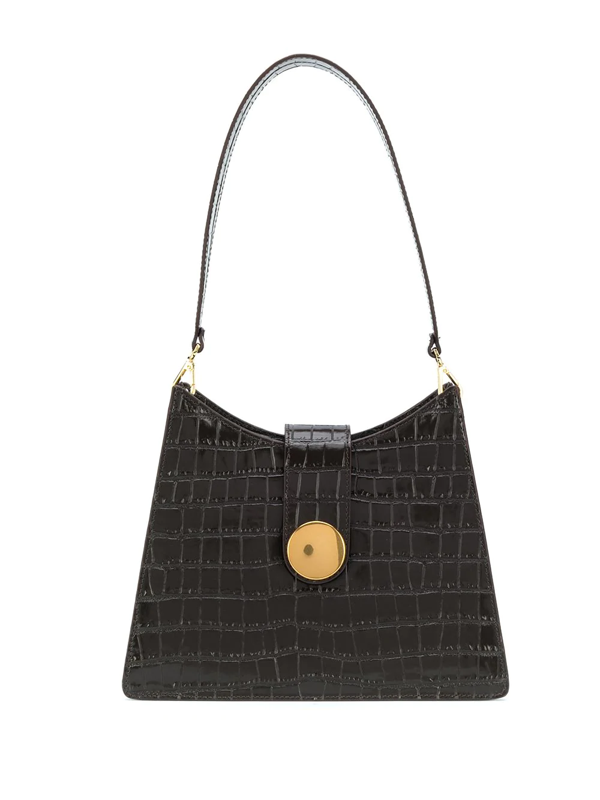 Elleme Baguette Croc Embossed Leather Bag In Brown