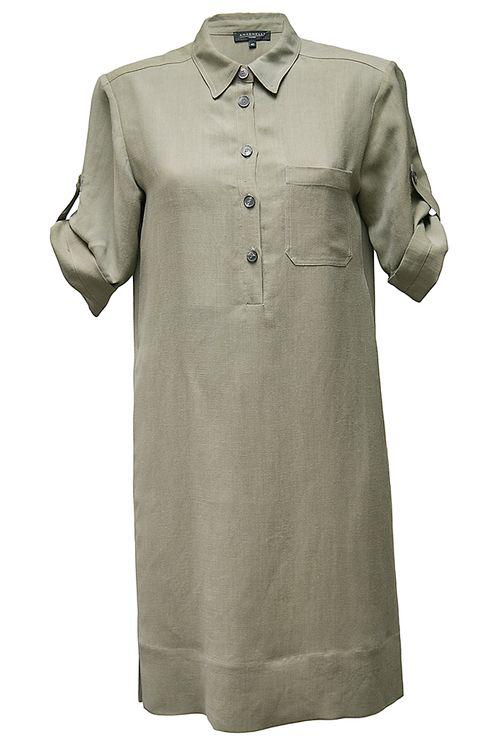 Antonelli Khaki Linen Dress In Green