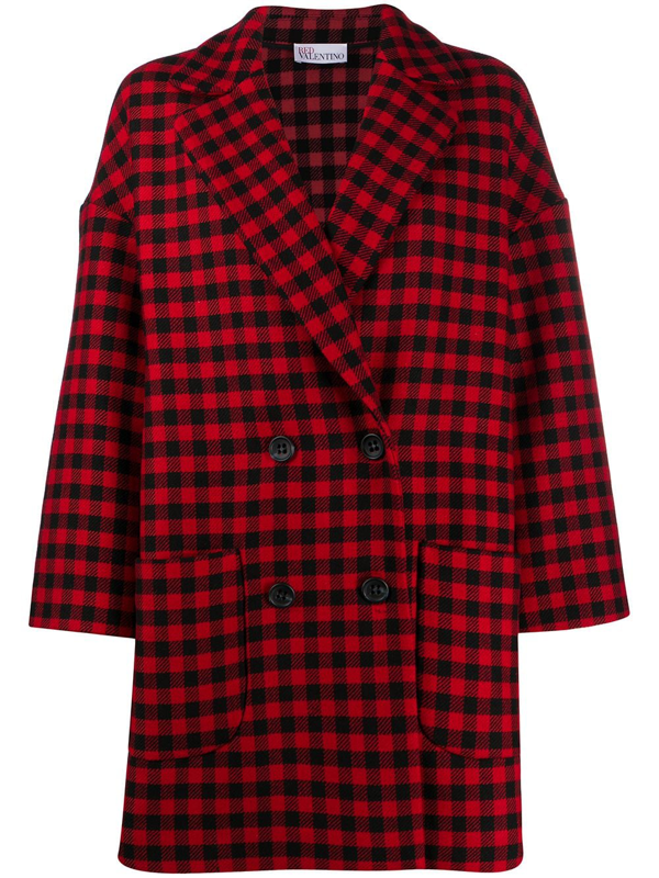 Red Valentino Gingham-check Double-breasted Coat In Red