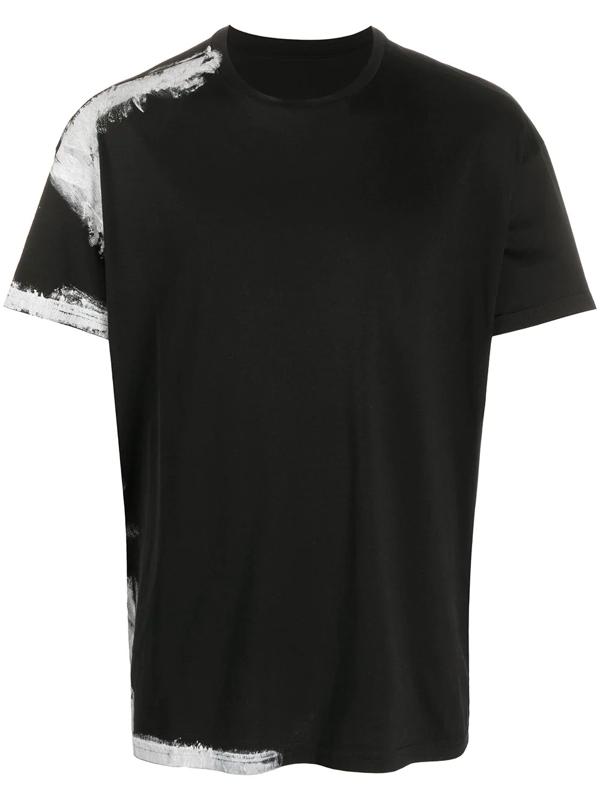 Maison Margiela Hand Painted Cotton T-shirt In 900 Black