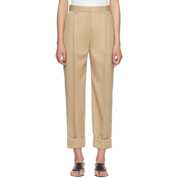 The Row Marta High-rise Wool-twill Trousers In Bei Beige