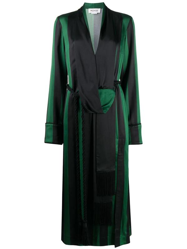 Monse Women's Striped Robe Midi Dress In Green