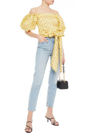Shrimps Vita Off-the-shoulder Bow-detailed Polka-dot Linen And Silk-blend Faille Top In Yellow