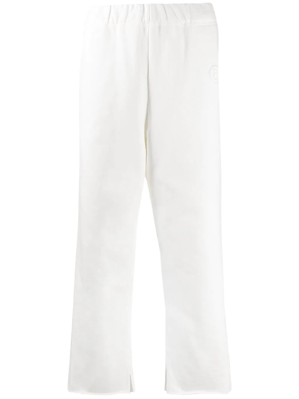 Mm6 Maison Margiela Embroidered Logo Cropped Trousers In White