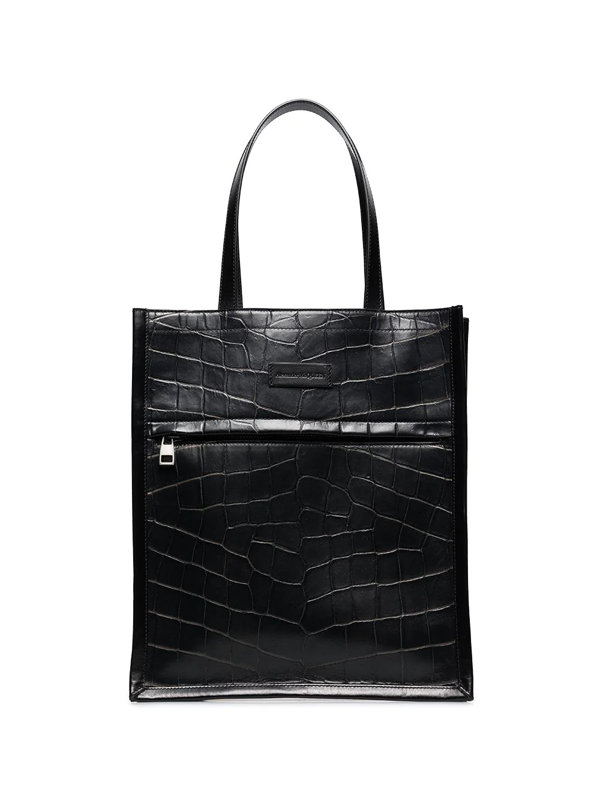 Alexander Mcqueen Logo-debossed Crocodile-effect Leather Tote In Black