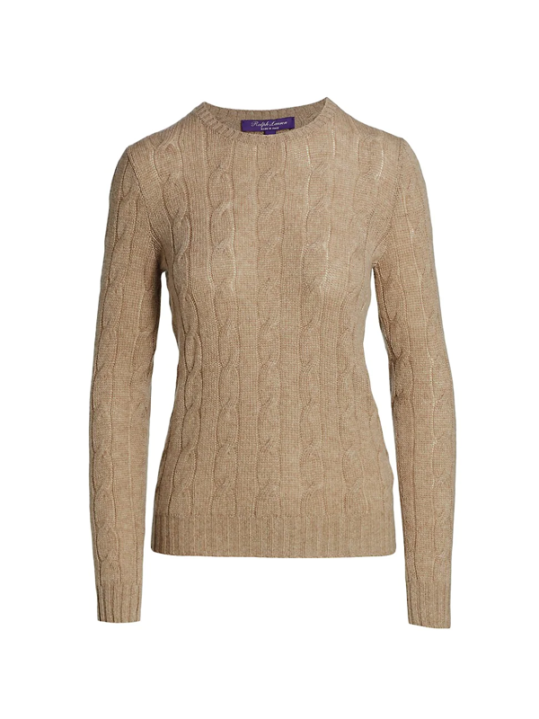 Ralph Lauren Cable Knit Cashmere Sweater In Truffle Melange