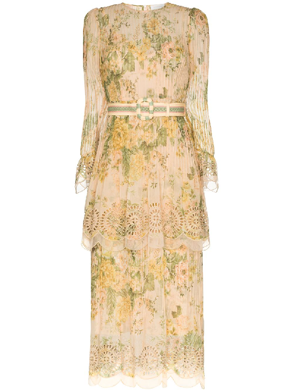 Zimmermann Amelie Floral Pintuck Long Sleeve Cotton & Silk Midi Dress In Neutrals