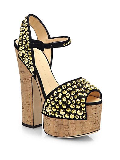 Giuseppe Zanotti Goldtone Studded Suede Cork Platform Sandals In Gold-Black