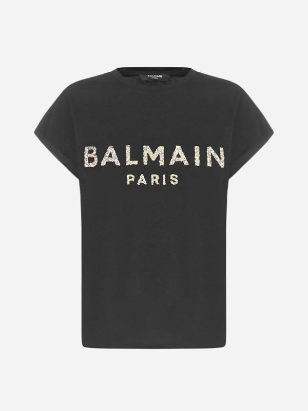Balmain Logo Cotton T-shirt In Noir Or