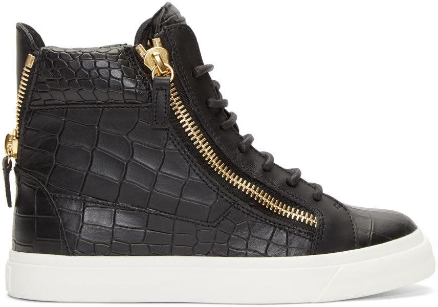 Giuseppe Zanotti Black Croc-embossed London High-top Sneakers In Nero