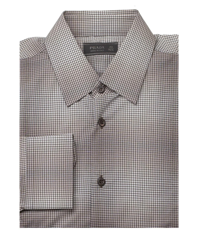Prada Men's Spread Collar Plaid Cotton Dress Shirt Black