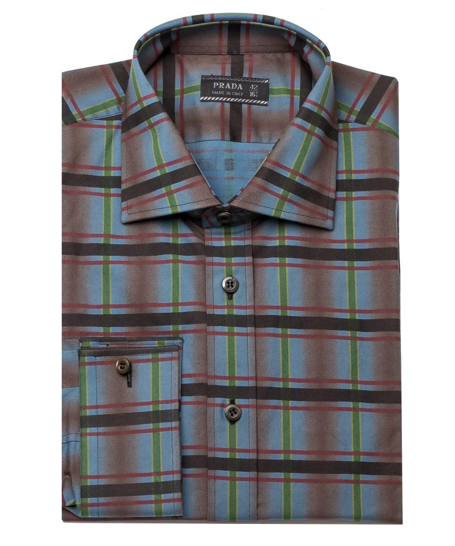 Prada Men's Spread Collar Plaid Cotton Dress Shirt Aqua In Blue