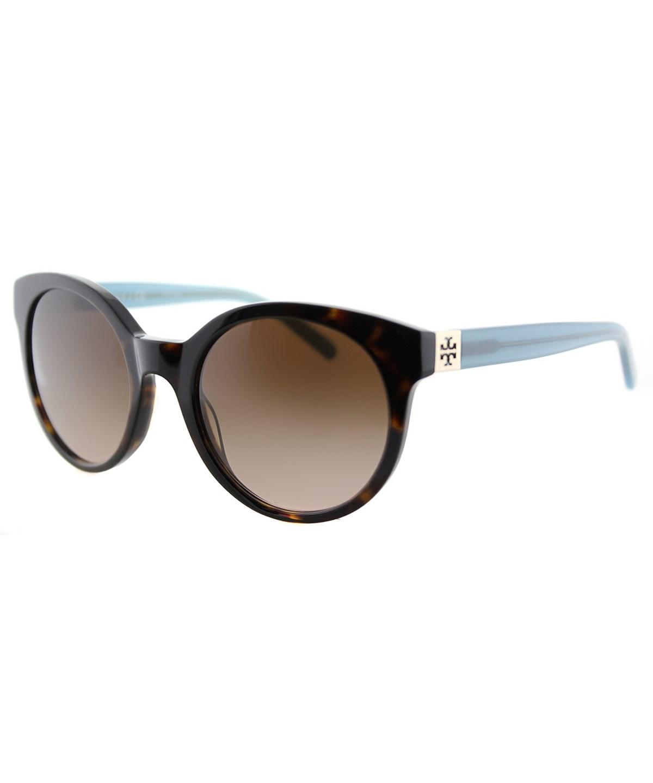 Tory Burch Round Colorblock Sunglasses, Tortoise In Tortoise Milky Fountain