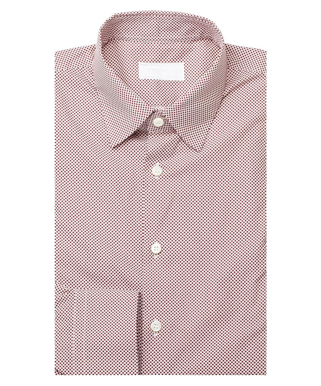 Prada Men's Diamond Checkered Spread Collar Cotton Dress Shirt Burgundy In Purple