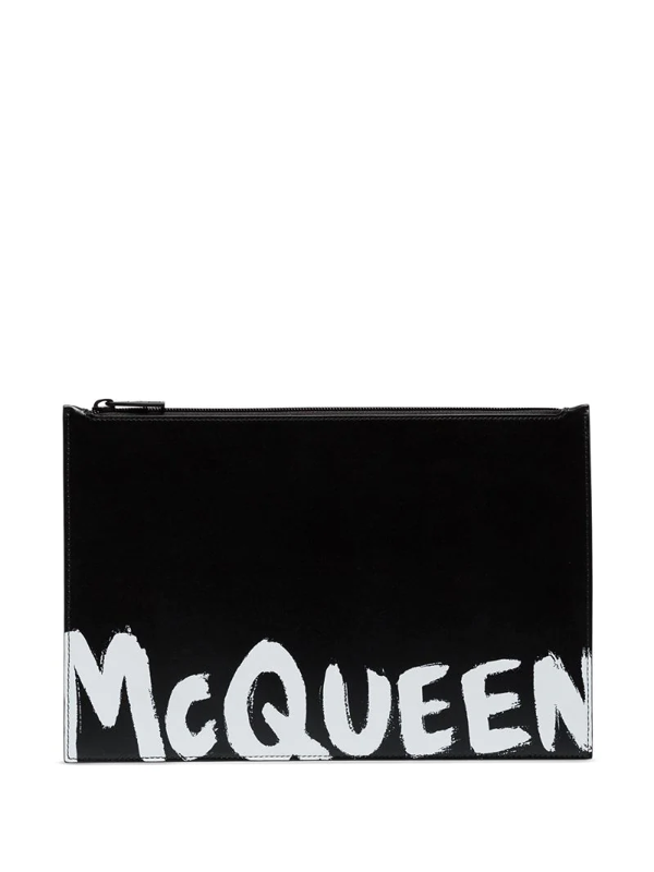 Alexander Mcqueen Graffiti Flat Zip Leather Pouch In Black