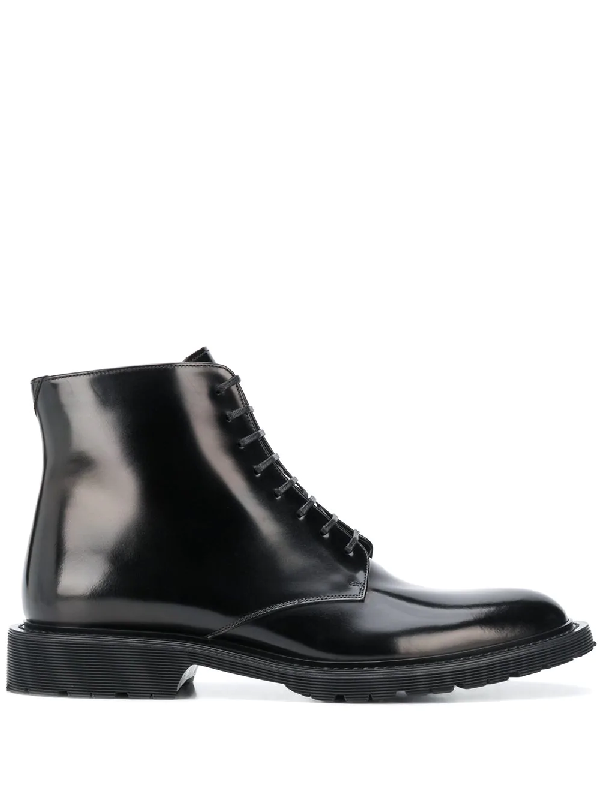 Saint Laurent Army Lace-up Patent-leather Boots In Black