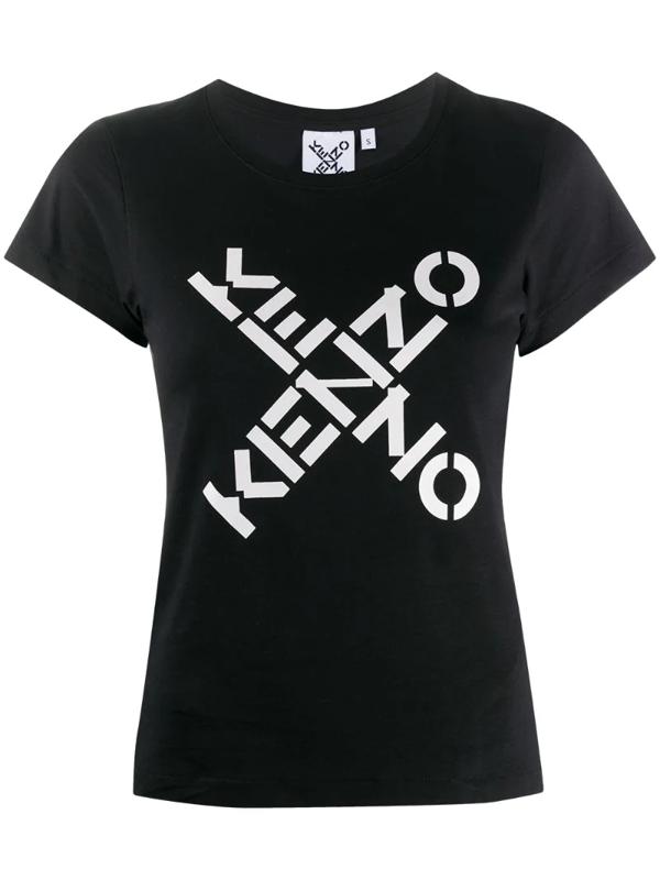 Kenzo Logo Print Cotton T-shirt In Black