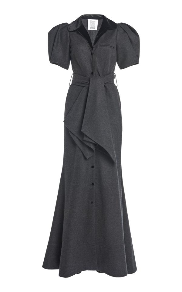 Rosie Assoulin Puffed-sleeve Wool-cotton Maxi Dress In Grey