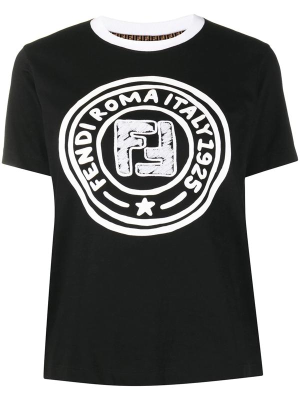 Fendi X Joshua Vides Logo Print T-shirt In Black