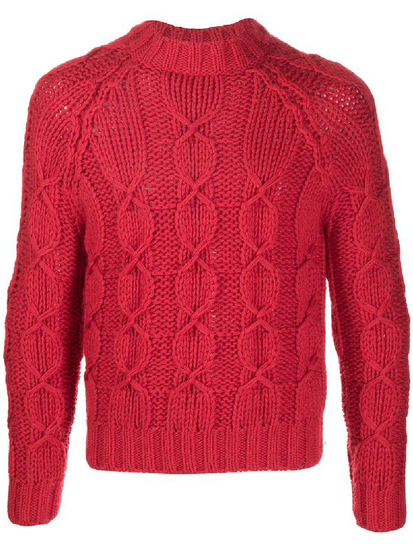 Saint Laurent Slim-fit Cable-knit Wool-blend Sweater In Red