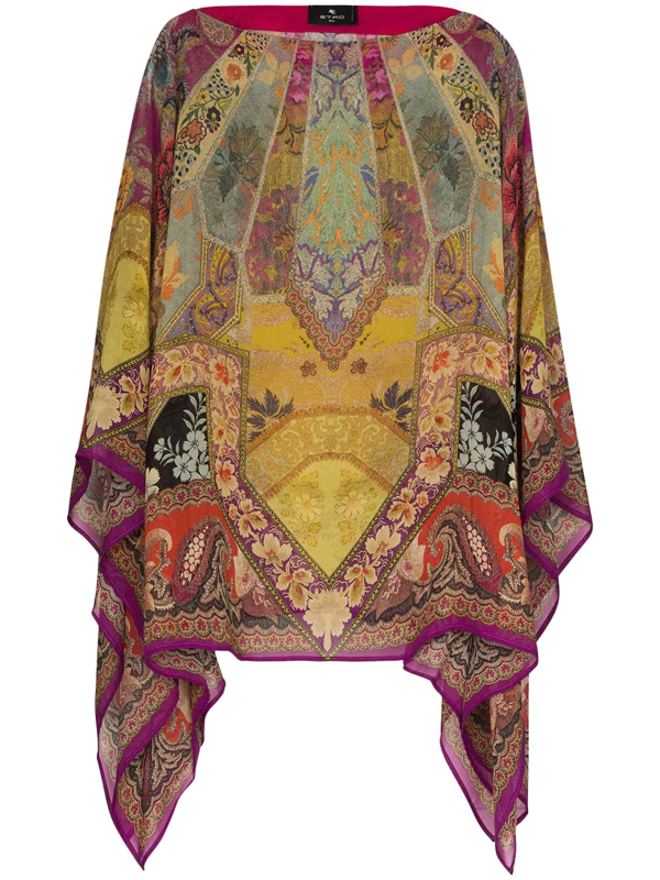 Etro Women's Stained Glass Silk Poncho In Neutrals