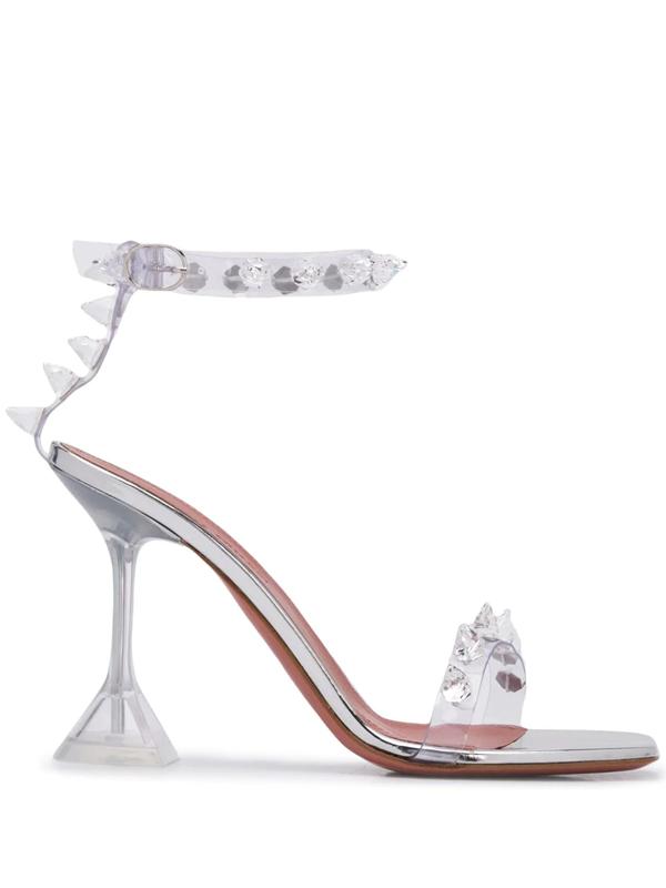 Amina Muaddi 100mm Julia Glas Embellished Pvc Sandals In Neutrals