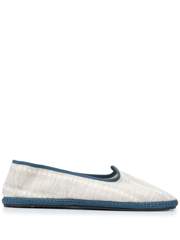Vibi Venezia Contrast-trimmed Linen Slippers In Grey
