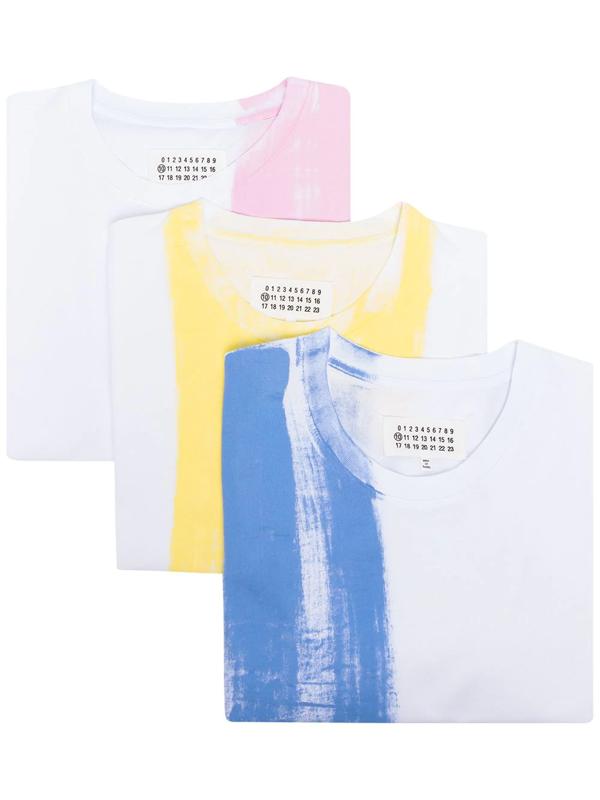 Maison Margiela 3-pack Paint Print T-shirt Set In Blue