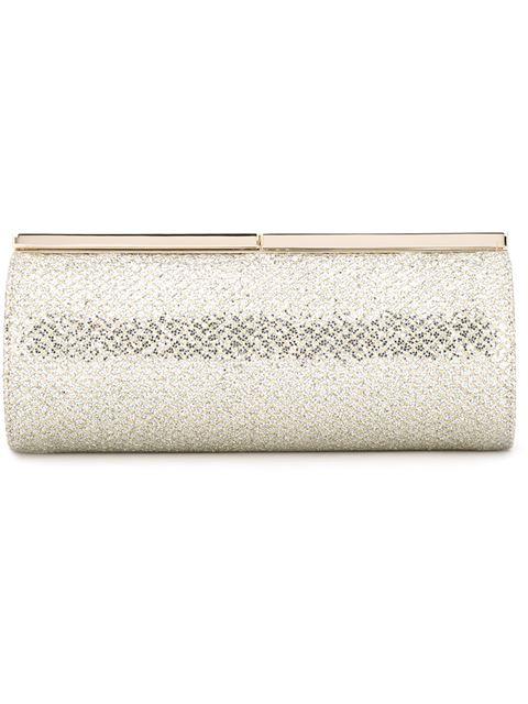 Jimmy Choo Trinket Champagne Glitter Fabric Clutch Bag In Metallic