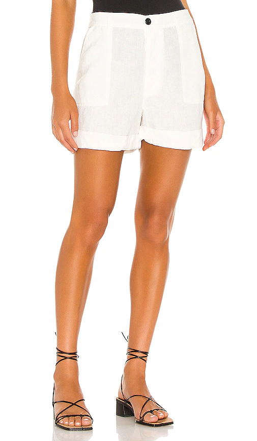Frame Le Beau Linen Shorts In Anchor