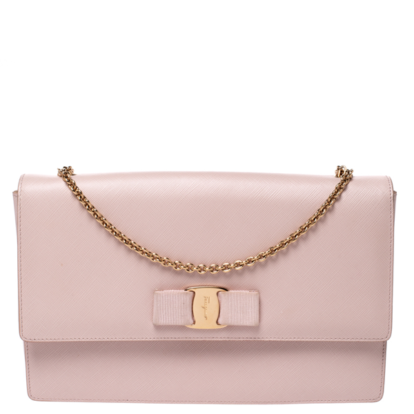 Pre-owned Salvatore Ferragamo Light Beige Leather Vara Bow Chain Shoulder Bag