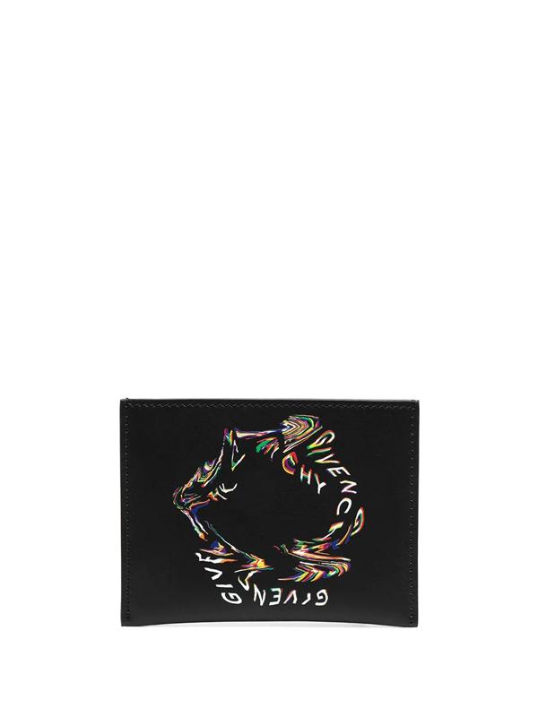 Givenchy Black Glitch Logo Card Holder