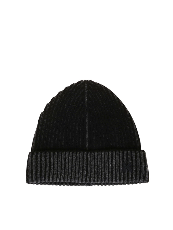 Kenzo Rib Knitted Wool Beanie In Grey