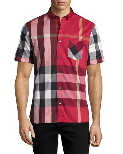 2330c041c1b1 Burberry Button-Down Collar Check Stretch Cotton Blend Shirt In Red ...