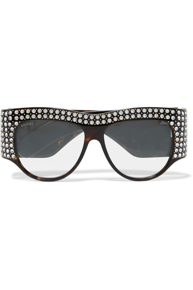 e0ef6181f18 Gucci D-Frame Crystal-Embellished Acetate Sunglasses In Brown