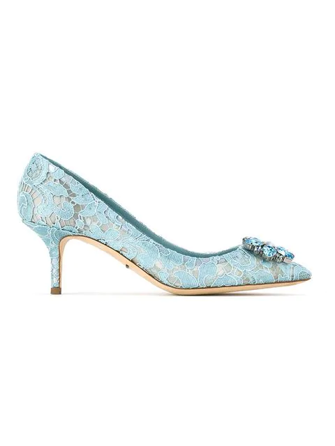 Dolce & Gabbana Pump In Taormina Lace With Crystals In Blue