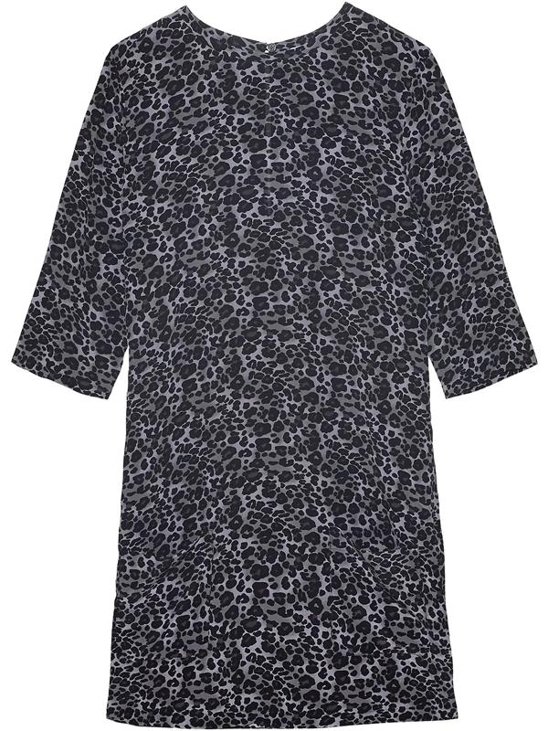 Equipment Women's Aubrey Leopard-print Silk Shift Dress In Grey