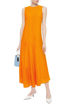 Ganni Paneled Silk And Cotton-blend Seersucker Maxi Dress In Bright Orange