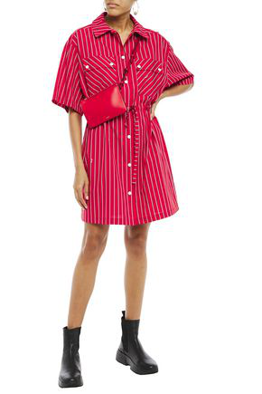 Mcq By Alexander Mcqueen Striped Cotton-poplin Mini Shirt Dress In Red