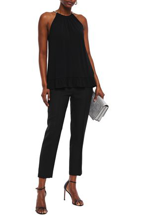 Michael Michael Kors Gathered Chain-trimmed Stretch-crepe Blouse In Black