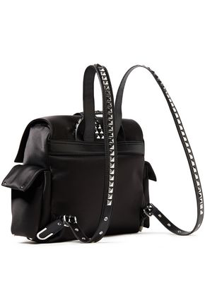 Michael Michael Kors Studded Satin And Faux Leather Backpack In Black