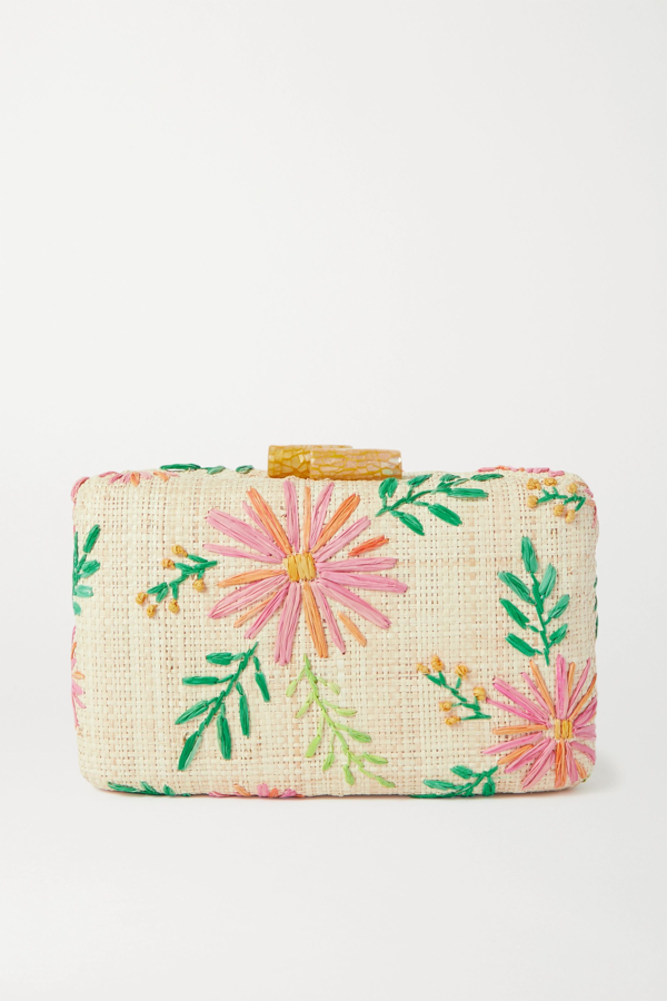 Kayu Claire Embroidered Straw Clutch In Pink