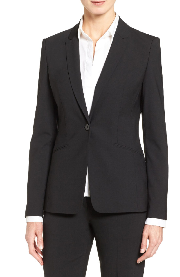 Boss Jabina Tropical Stretch Wool Jacket In Black