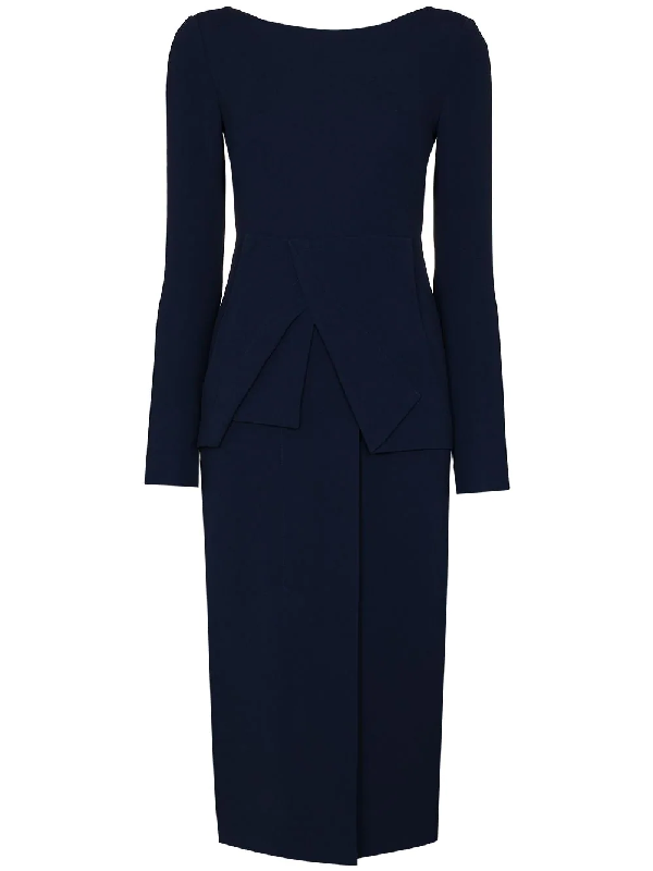 Roland Mouret Delphi Fitted Midi Dress In Blue