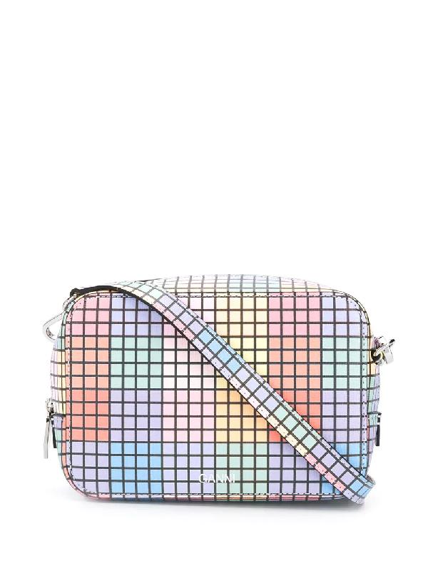 Ganni Multicoloured Cube Print Leather Cross Body Bag In Blue